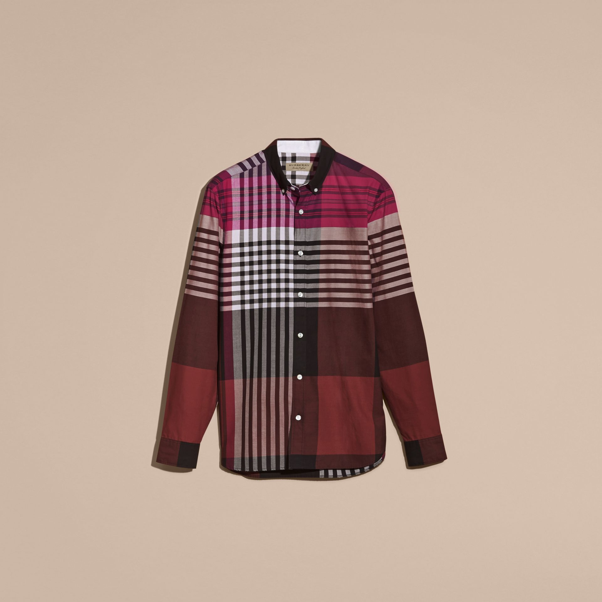 Deep claret Graphic Tartan Cotton Shirt Deep Claret - gallery image 4