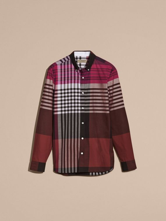 Deep claret Graphic Tartan Cotton Shirt Deep Claret - cell image 3
