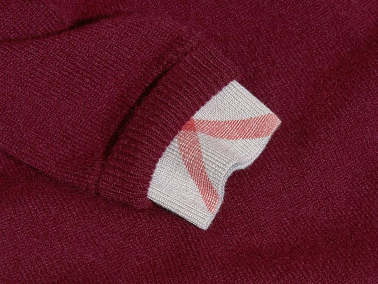 Check Cuff Knitted Cashmere Dress in Mahogany Red - cell image 1