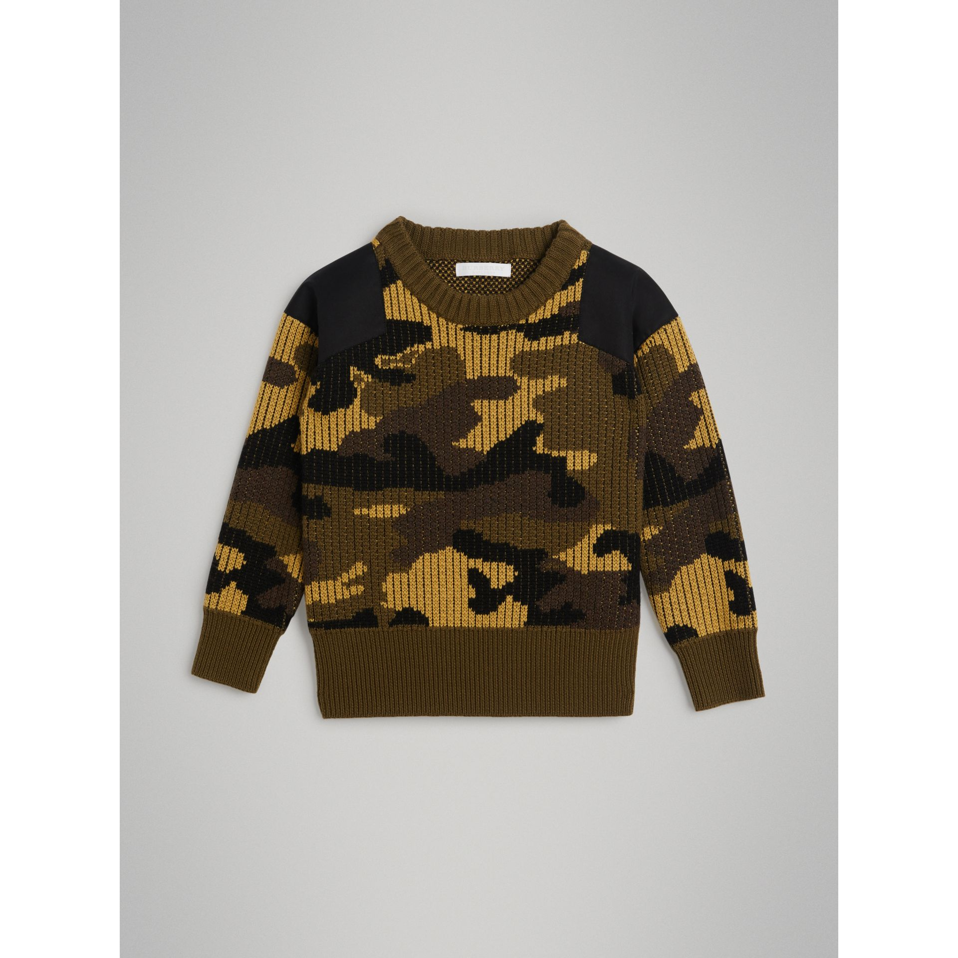 Camouflage Merino Wool Jacquard Sweater in Khaki Green - Boy | Burberry - gallery image 0