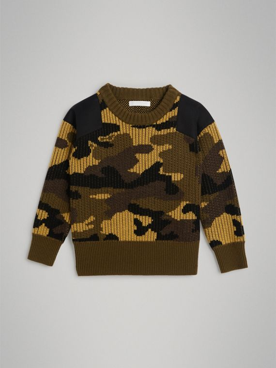 Camouflage Merino Wool Jacquard Sweater in Khaki Green