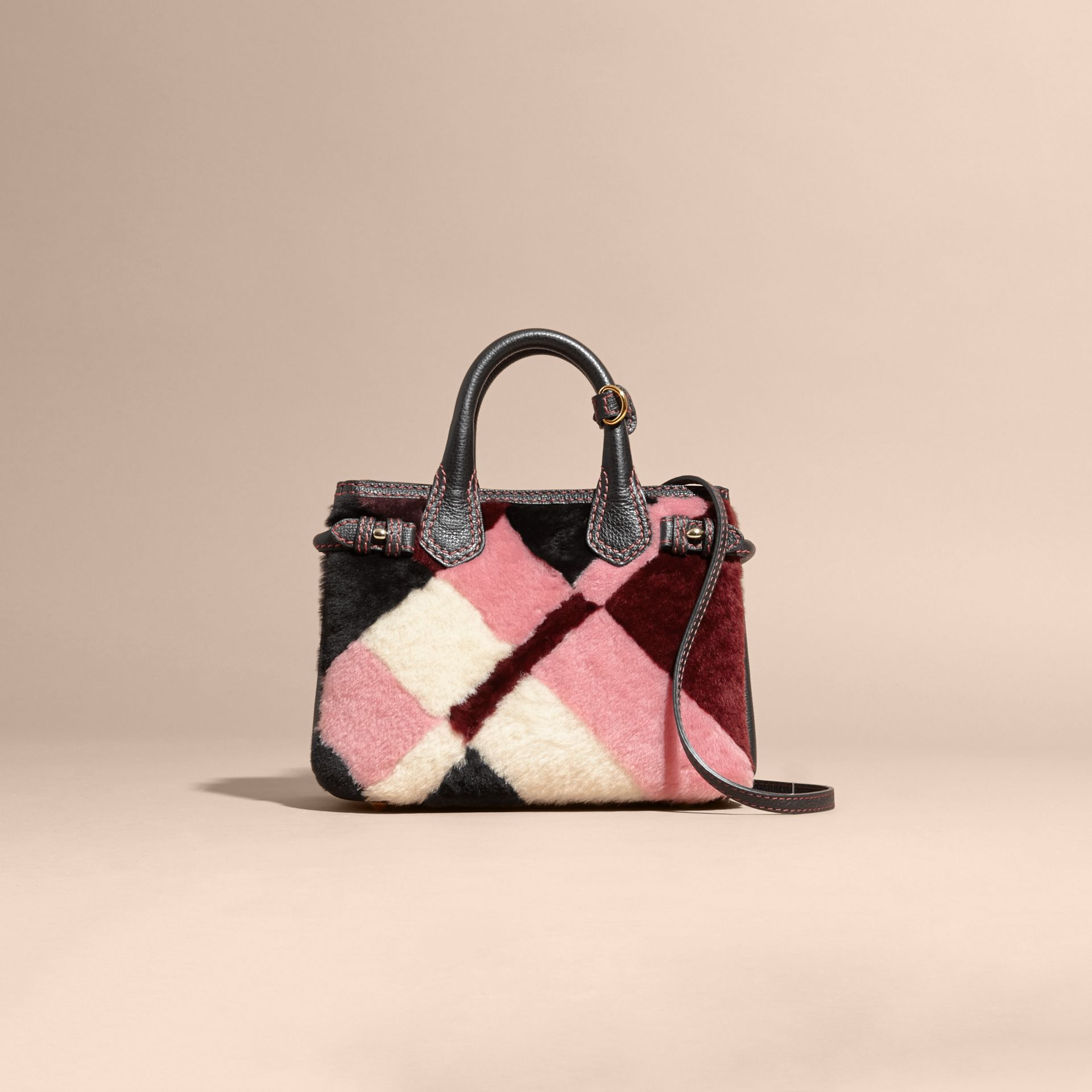 Pink The Baby Banner in Patchwork Check Shearling and Leather - gallery image 8