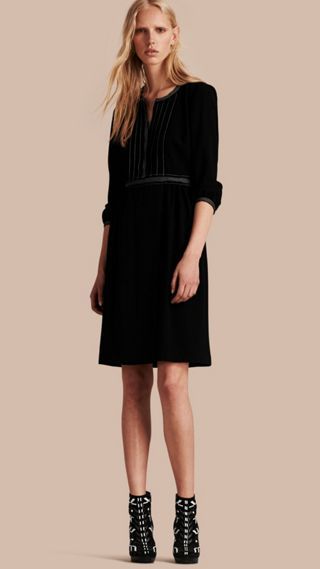 Topstitch Detail Wool Crepe Dress