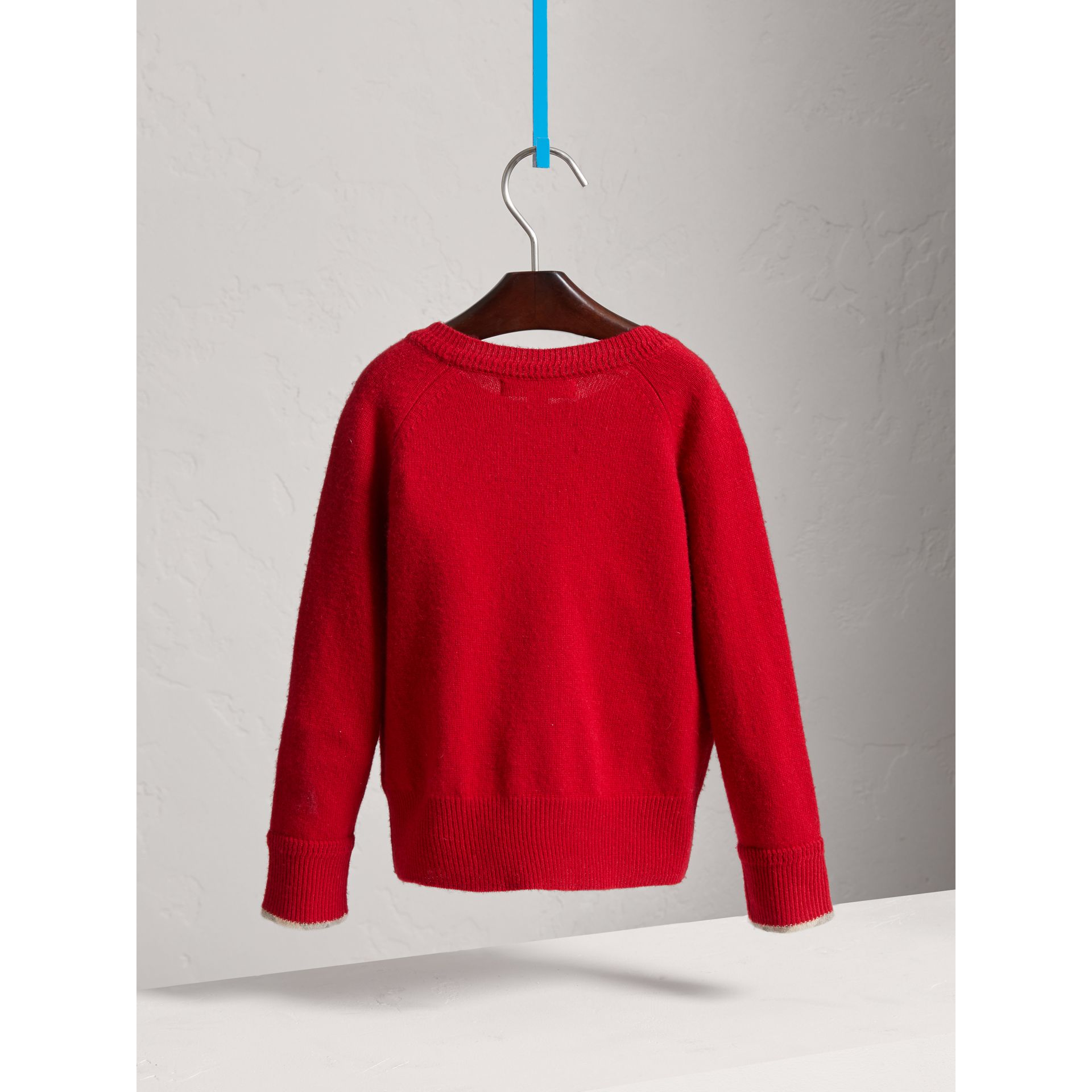 Check Detail Cashmere Sweater in Parade Red - Girl | Burberry United Kingdom - gallery image 3