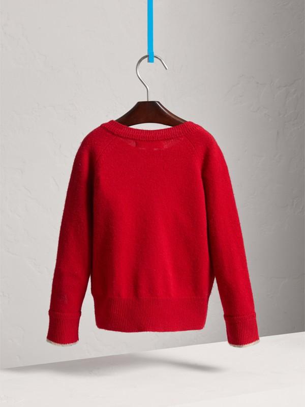 Suéter de cashmere com detalhe xadrez (Vermelho Paixão) - Menina | Burberry - cell image 3