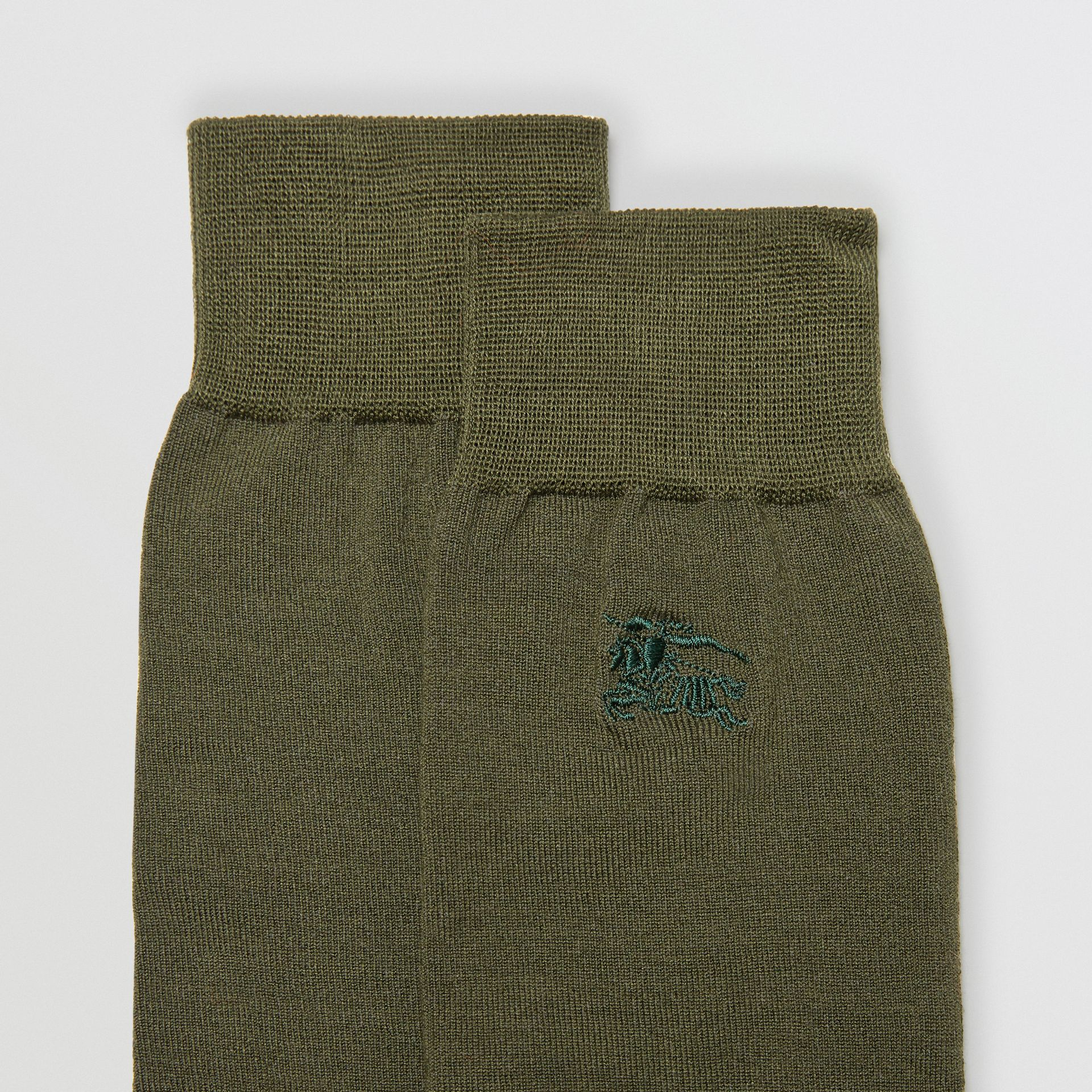 Embroidered EKD Cotton Blend Socks in Slate Green | Burberry - gallery image 1