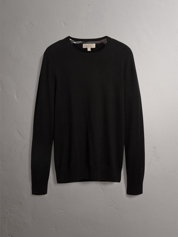 Check Jacquard Detail Cashmere Sweater in Black - Men | Burberry - cell image 3