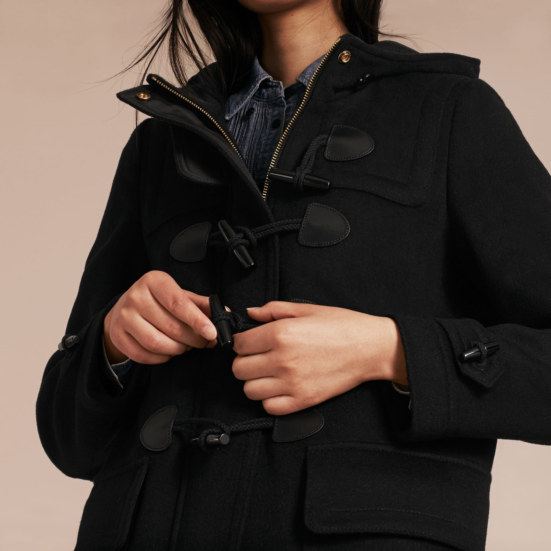 Black Straight Fit Duffle Coat Black - gallery image 5