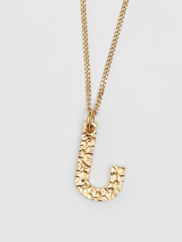 'J' Alphabet Charm Gold-plated Necklace in Light - Women | Burberry United Kingdom - cell image 2