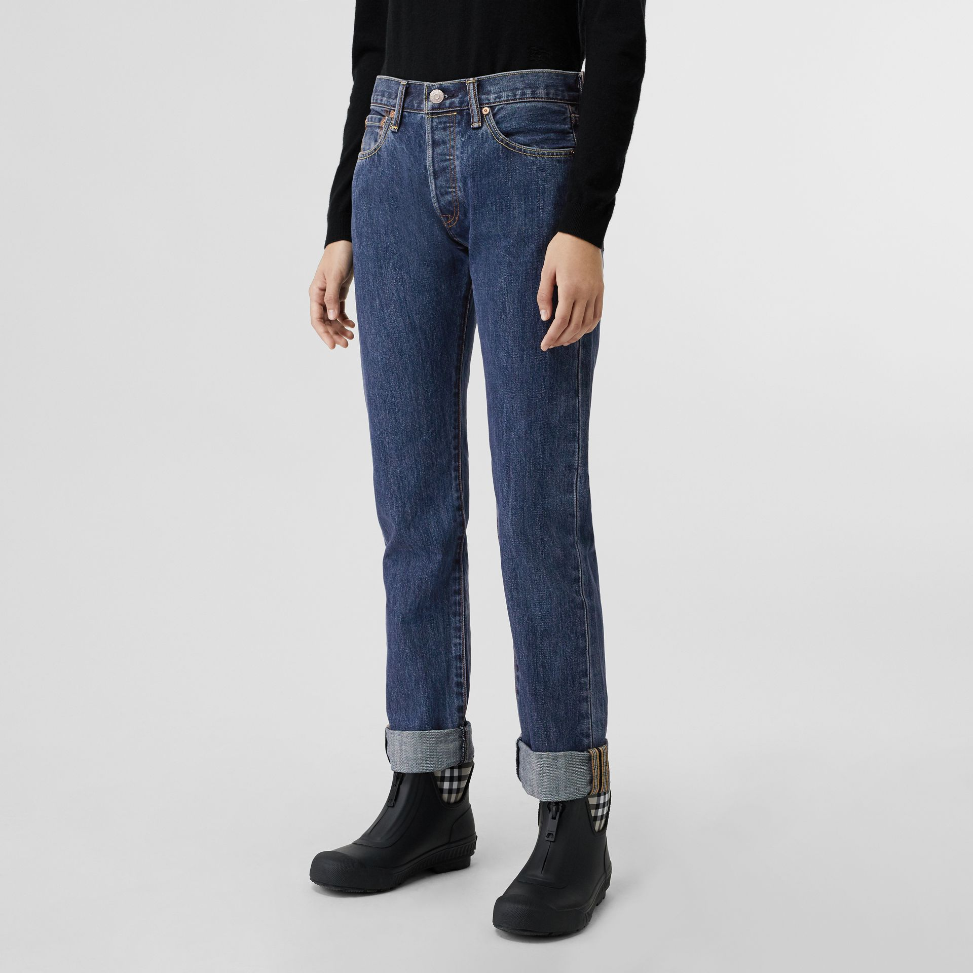 Straight Fit Japanese Selvedge Denim Jeans in Blue - Women | Burberry - gallery image 5
