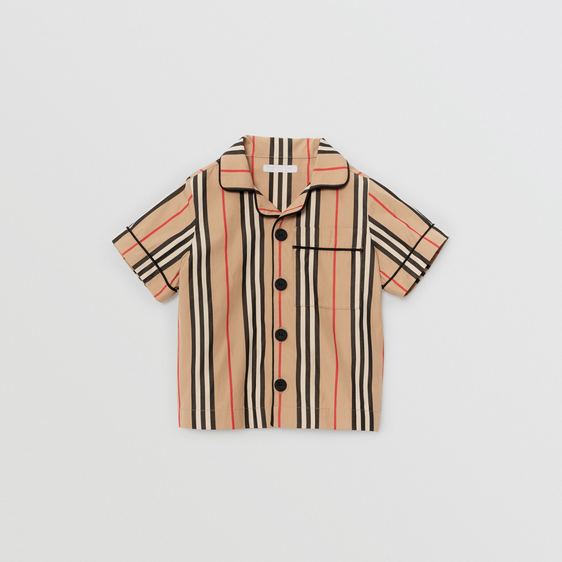 Short-sleeve Icon Stripe Cotton Poplin Shirt in Archive Beige | Burberry United States - gallery image 0