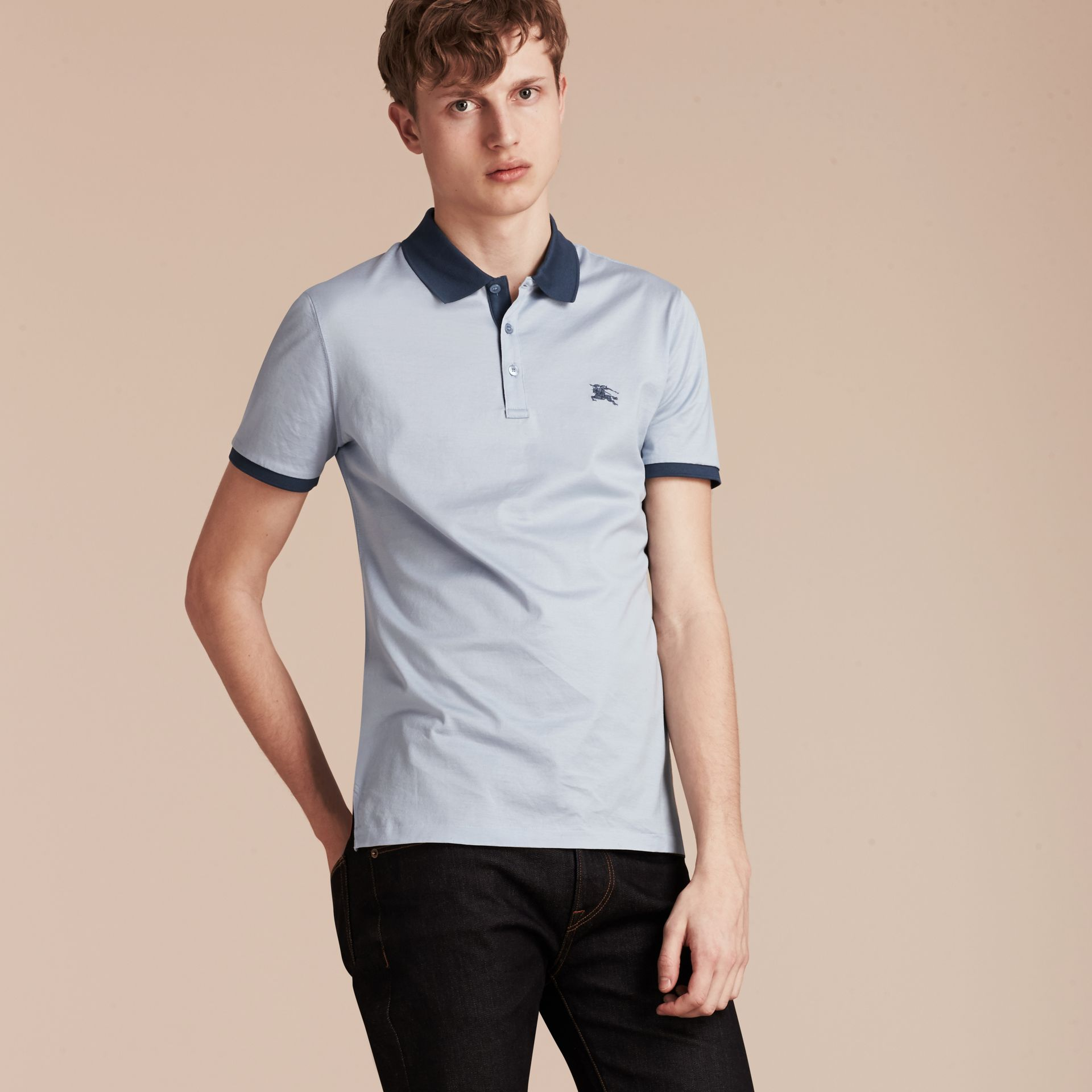 Light blue Fitted Cotton Polo Shirt with Tonal Trim Light Blue - gallery image 6