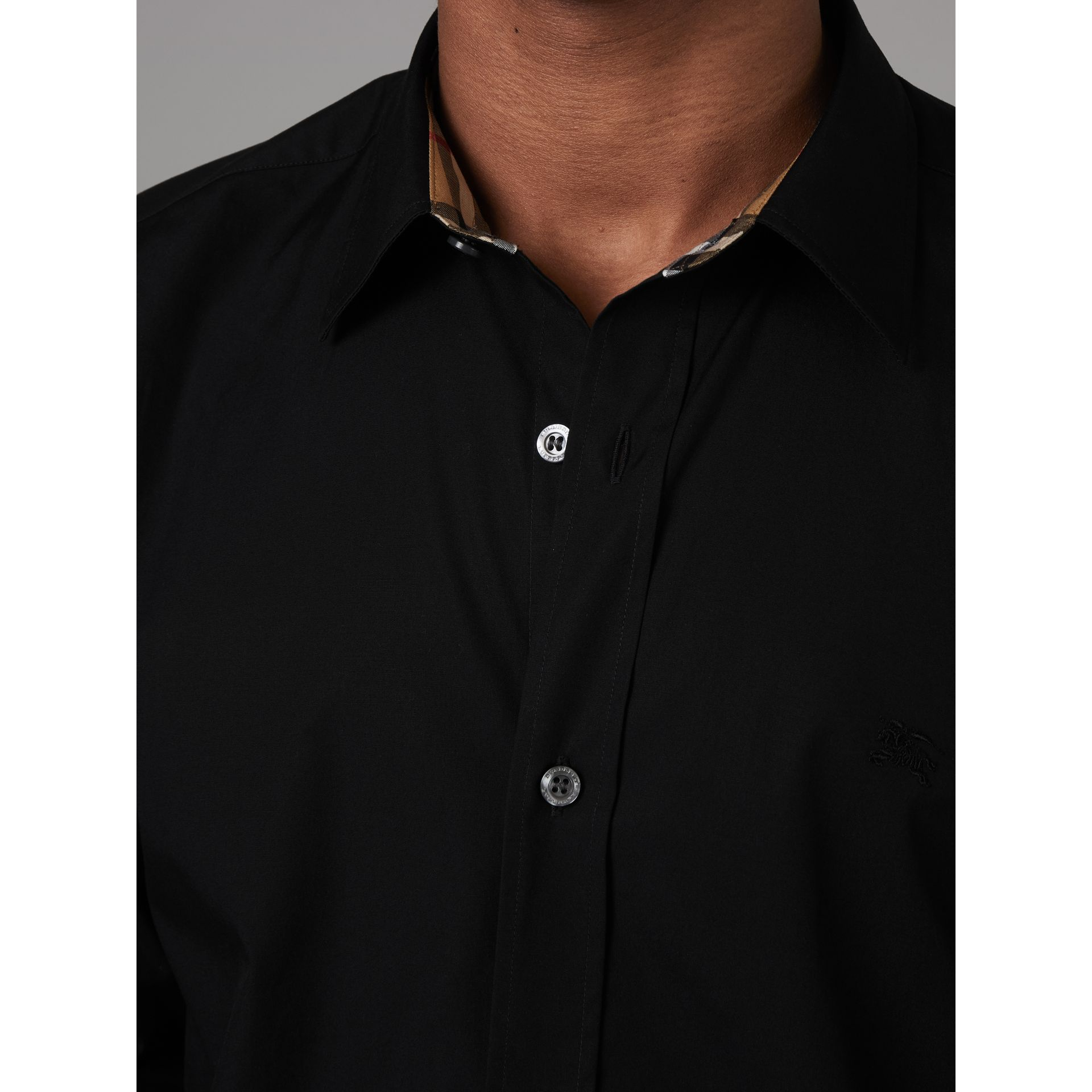 Check Cuff Stretch Cotton Poplin Shirt in Black - Men | Burberry - gallery image 1