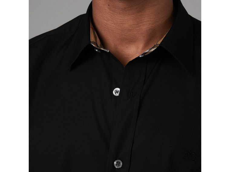 Check Cuff Stretch Cotton Poplin Shirt in Black - Men | Burberry Hong Kong - cell image 1