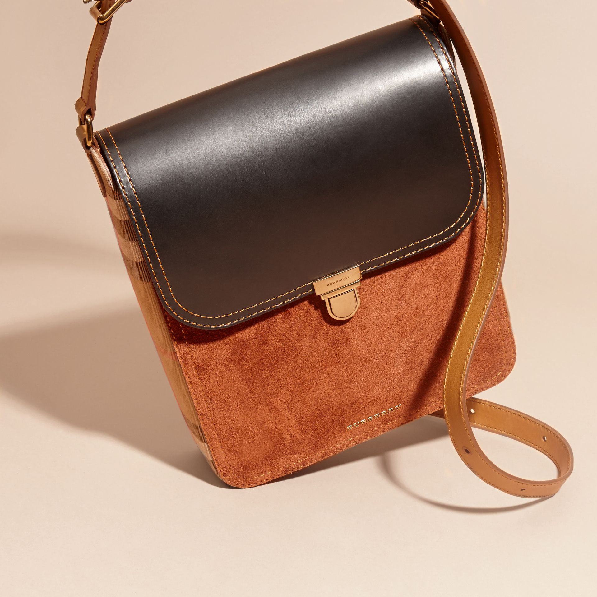 Black The Medium Satchel in Leather and House Check - gallery image 8