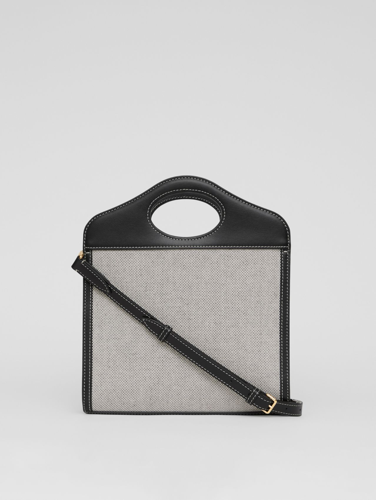 Mini Two-tone Canvas and Leather Pocket Bag in Black/fiery Red