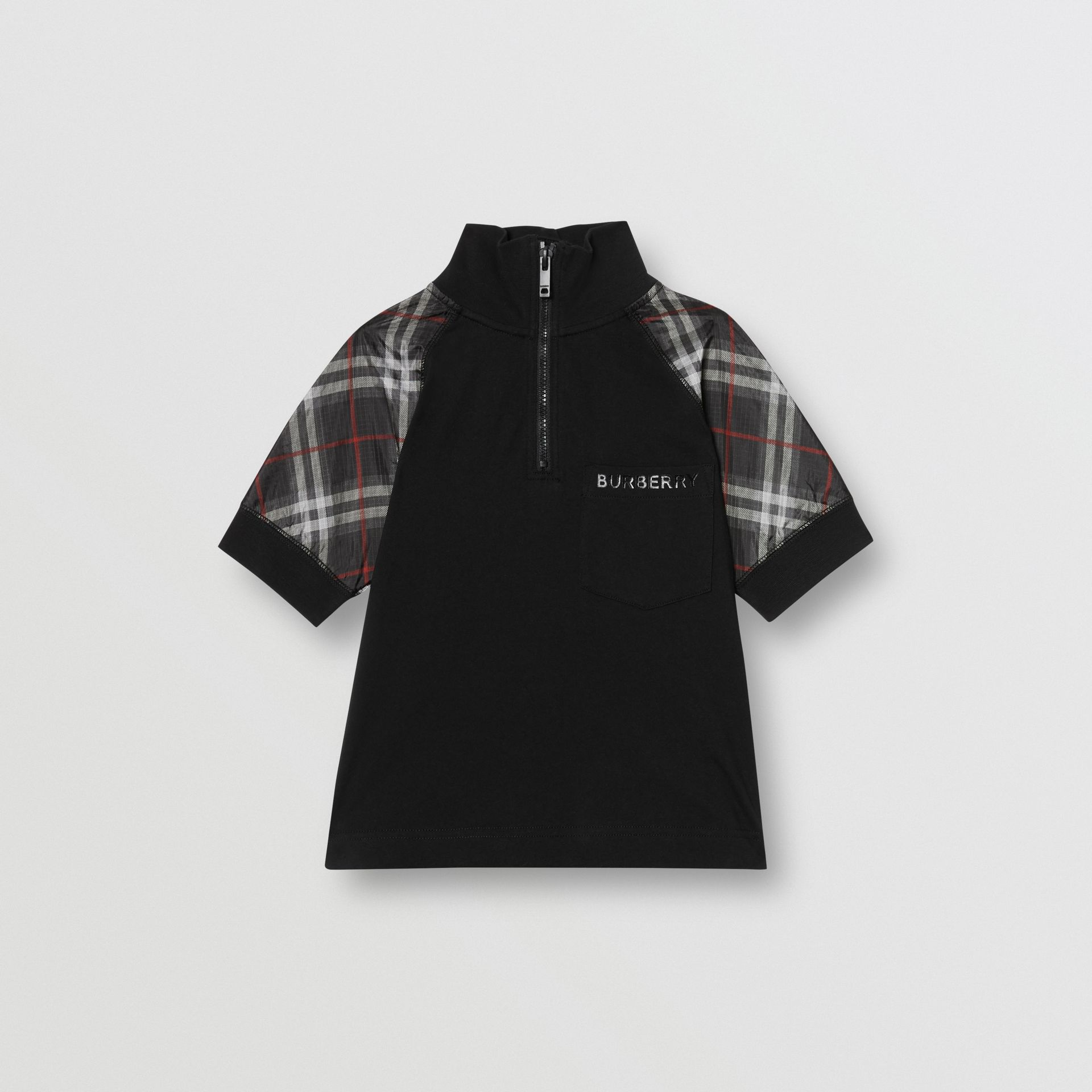 Vintage Check Detail Cotton Zip-front Polo Shirt in Black - Boy | Burberry - gallery image 0
