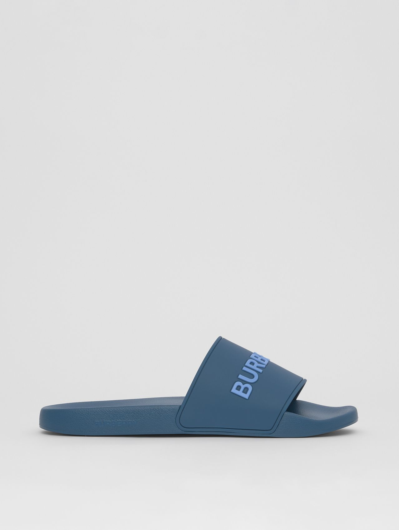 Embossed Logo Slides in Dark Cerulean Blue