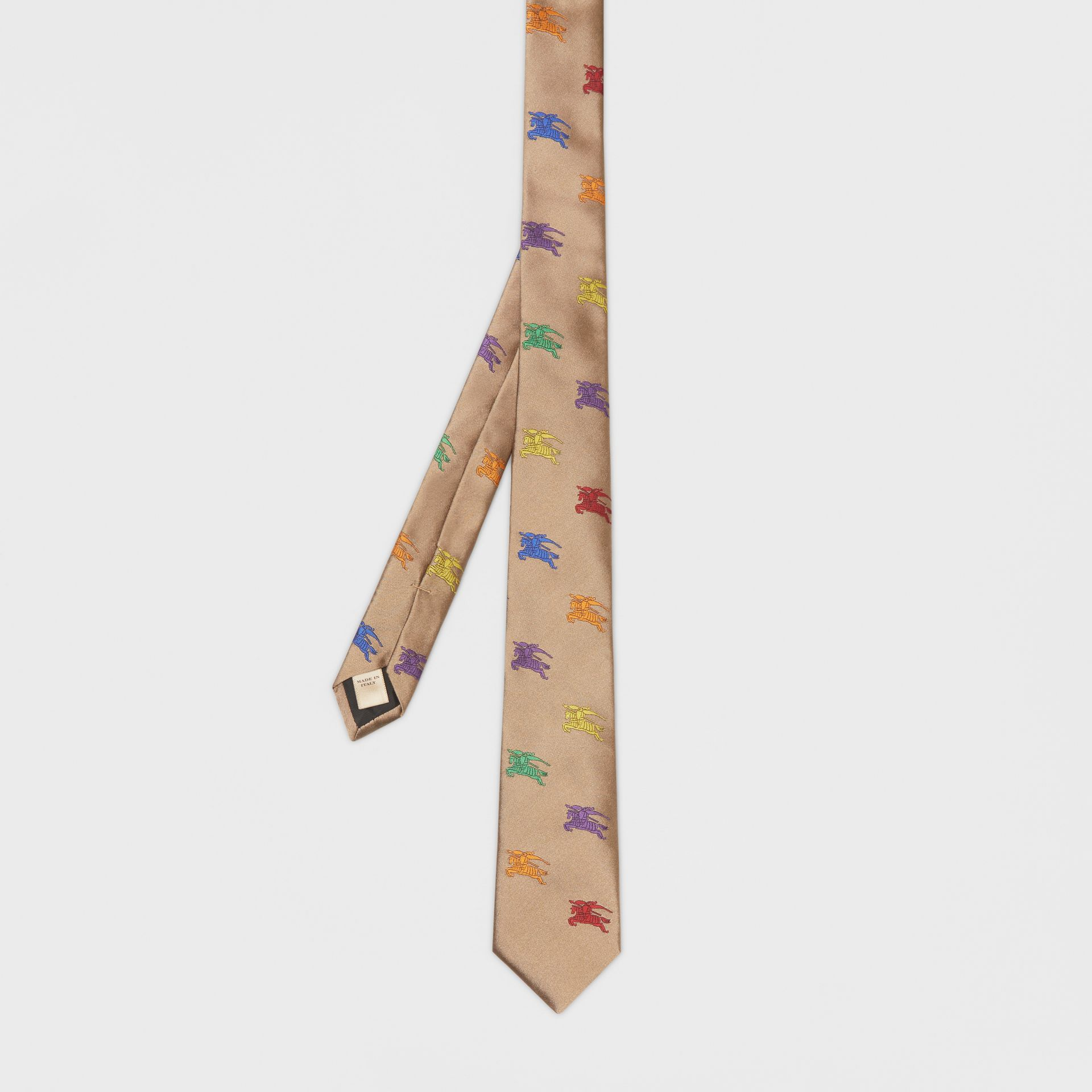 Slim Cut EKD Silk Tie in Camel - Men | Burberry United States - gallery image 4