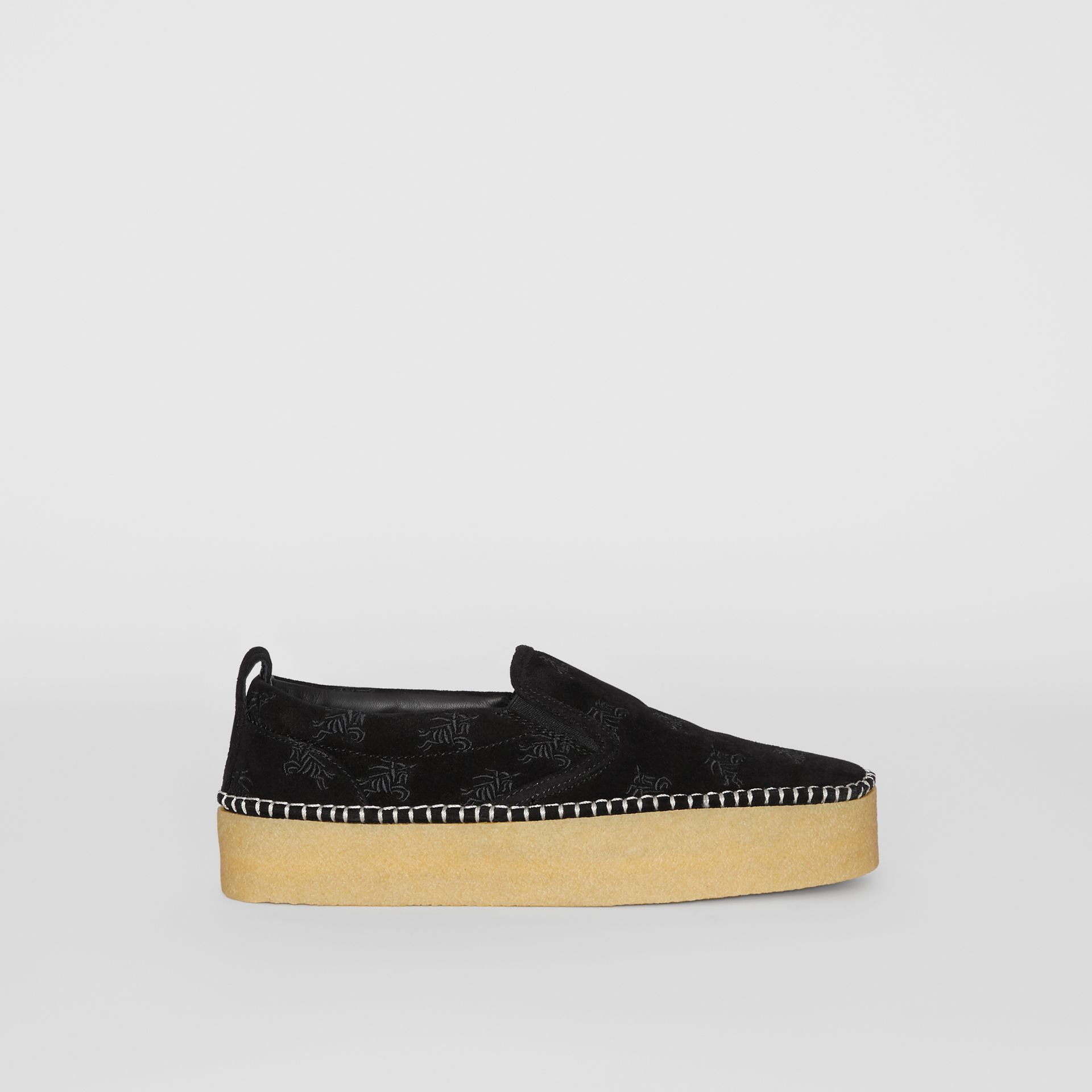 EKD Suede Slip-on Sneakers in Black - Women | Burberry United States - gallery image 5