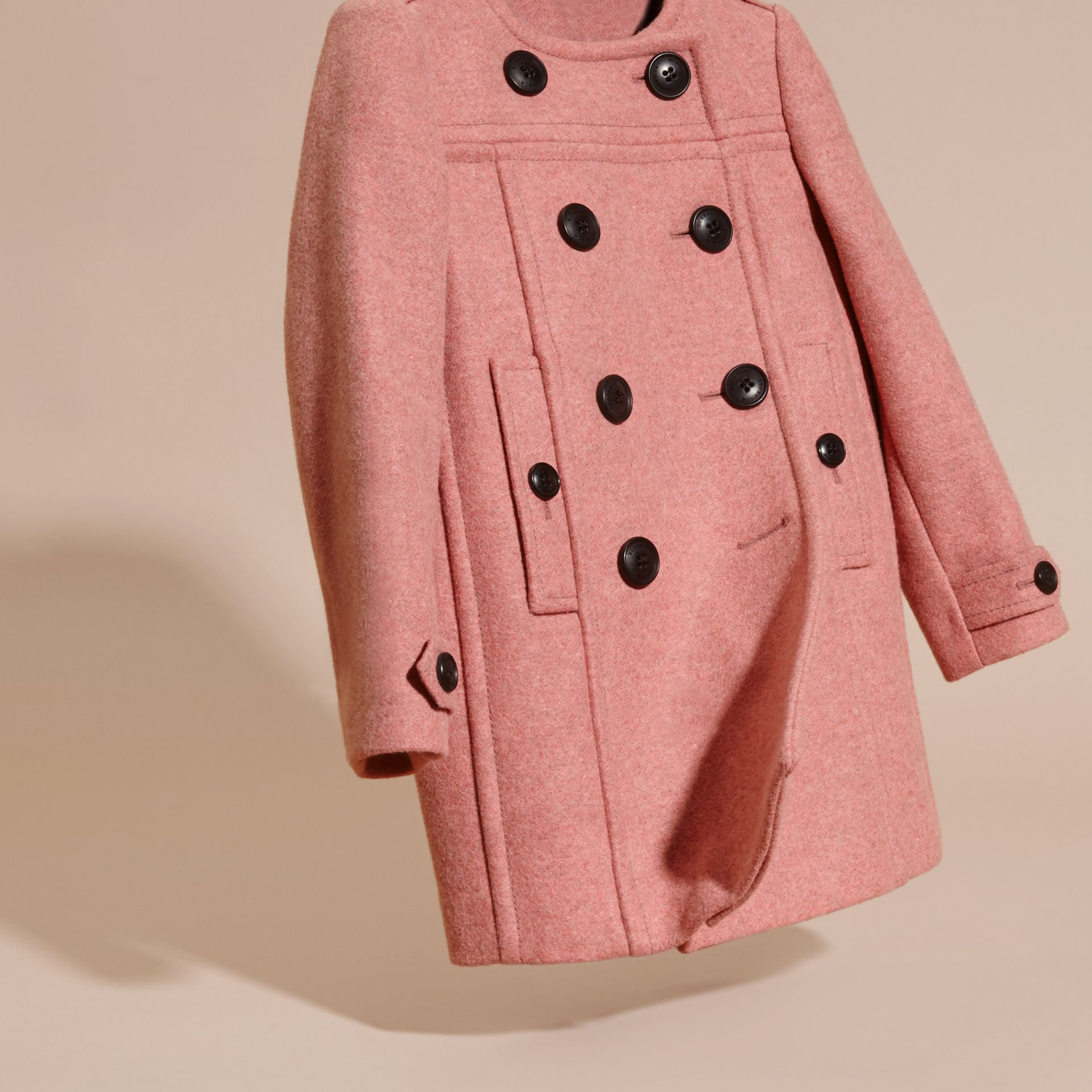 Peony rose melange Collarless Wool Cashmere Blend Coat - gallery image 3