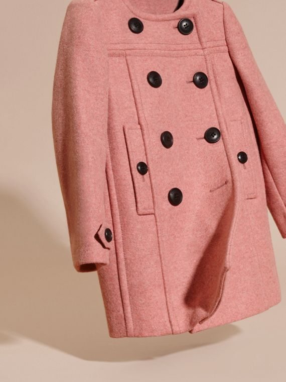 Peony rose melange Collarless Wool Cashmere Blend Coat - cell image 2
