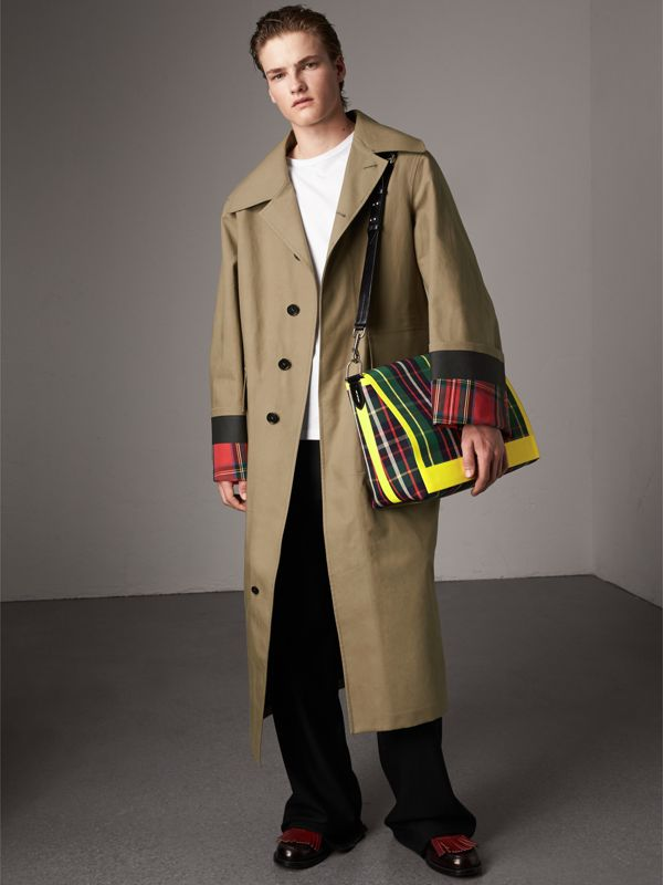 Large Tartan Cotton Messenger Bag in Forest Green | Burberry - cell image 2
