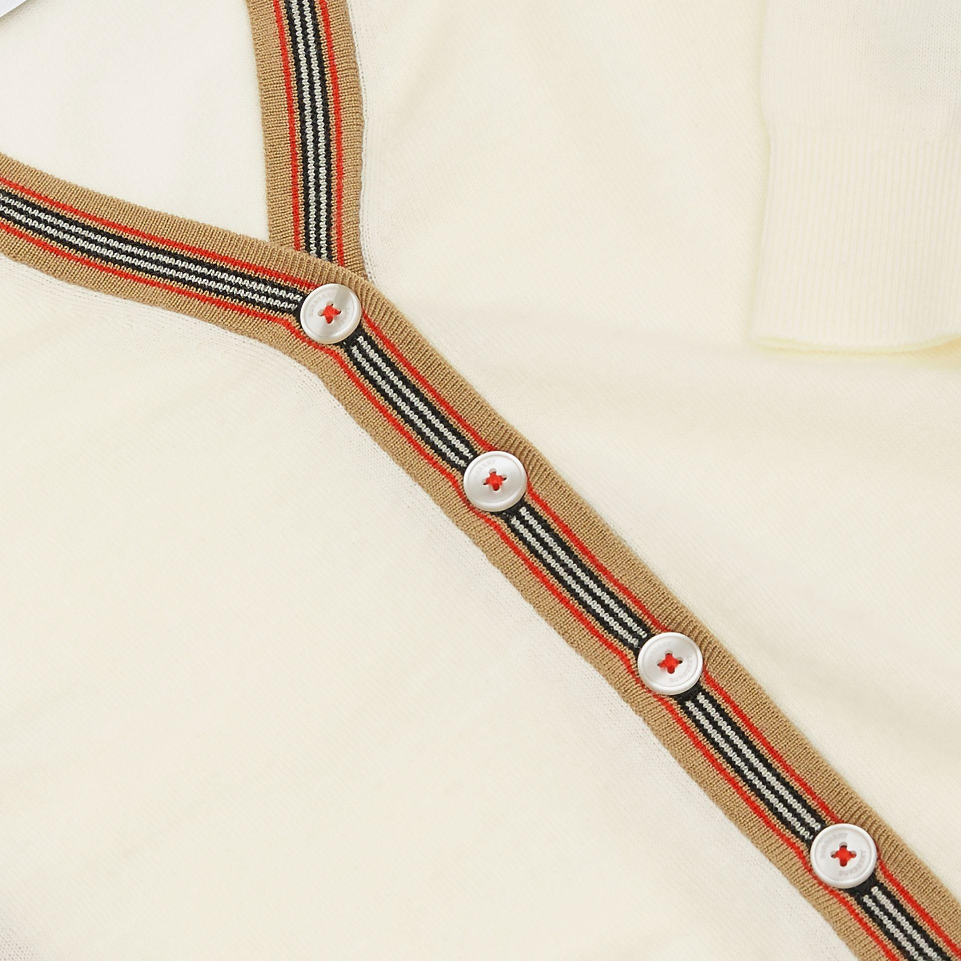 Icon Stripe Detail Merino Wool Cardigan in Ivory - Children | Burberry - gallery image 1