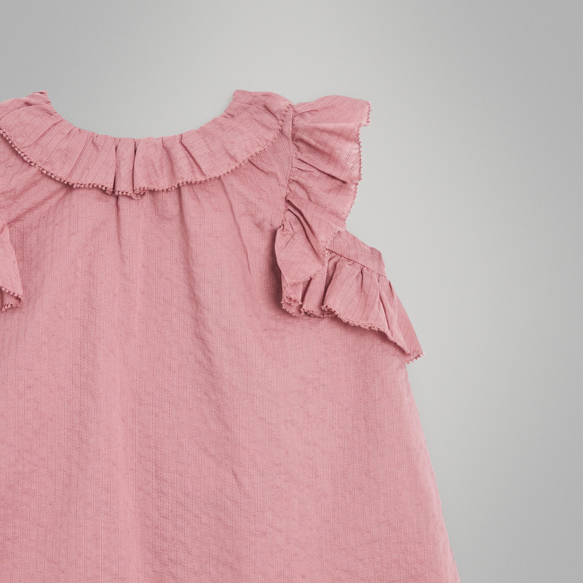 Ruffle Detail Cotton Dress with Bloomers in Light Elderberry - Children | Burberry Singapore - gallery image 5