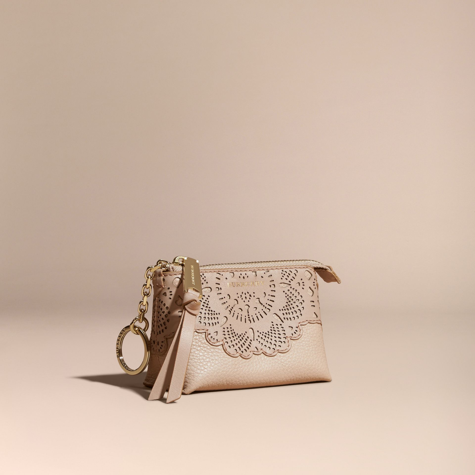 Pale apricot Laser-cut Lace Leather Coin Case - gallery image 1