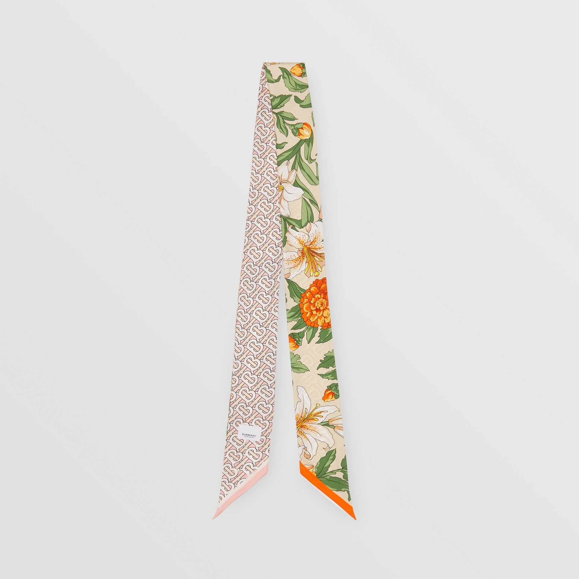Floral and Monogram Print Silk Skinny Scarf in Beige | Burberry - gallery image 0