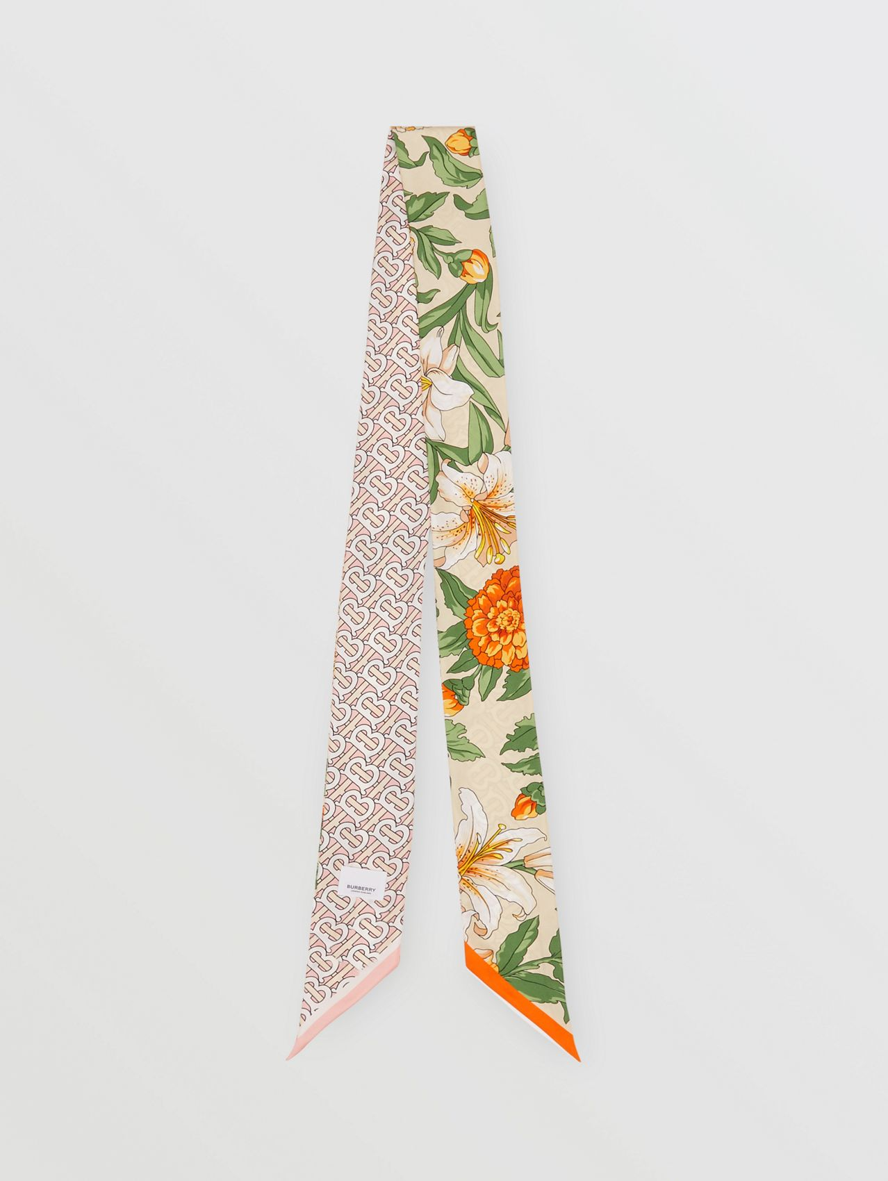 Floral and Monogram Print Silk Skinny Scarf in Beige