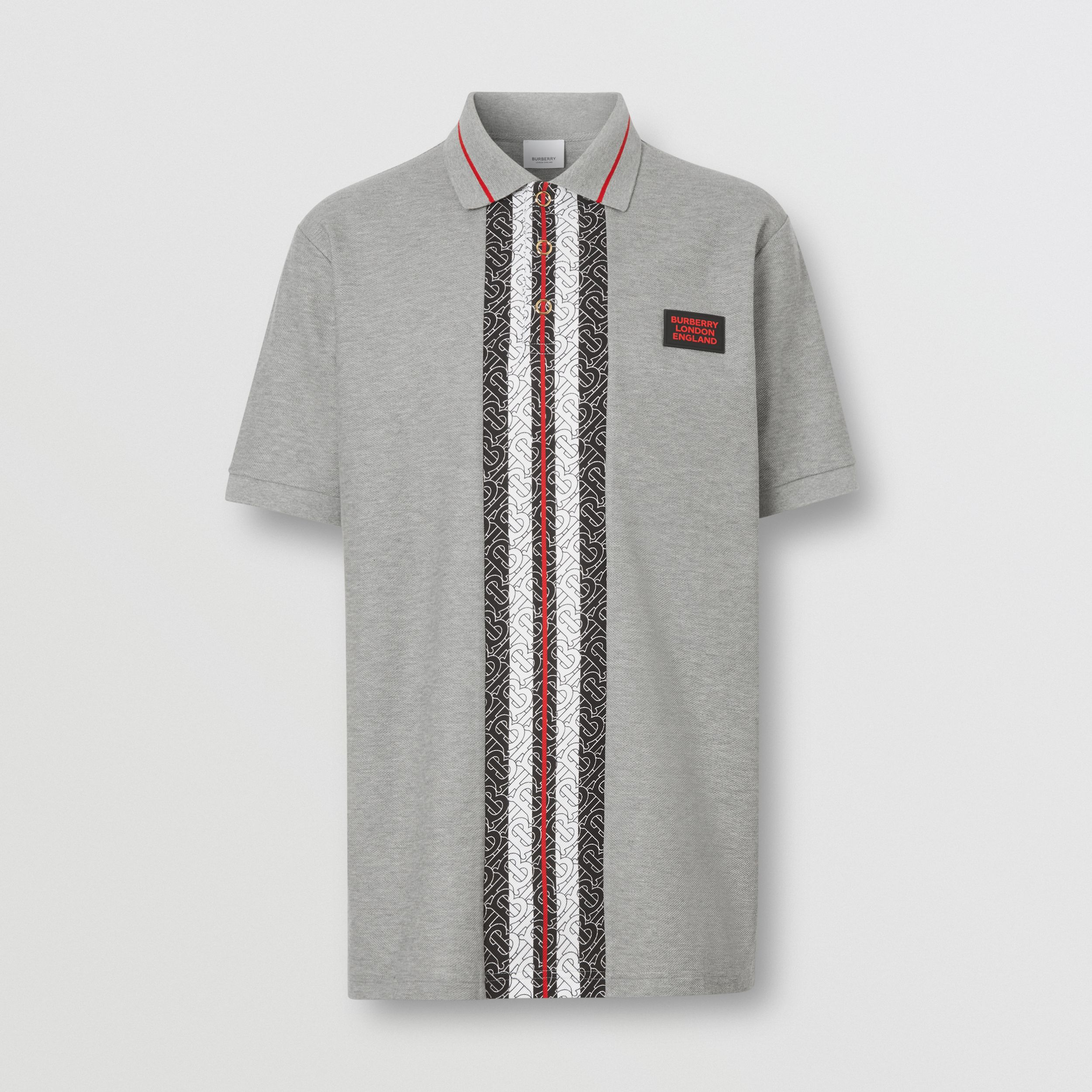 Monogram Stripe Print Cotton Piqué Polo Shirt in Pale Grey Melange - Men | Burberry - 4