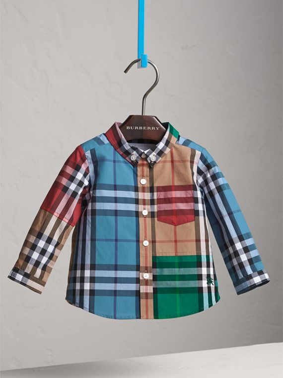 Contrast Check Cotton Shirt in Camel | Burberry - cell image 2