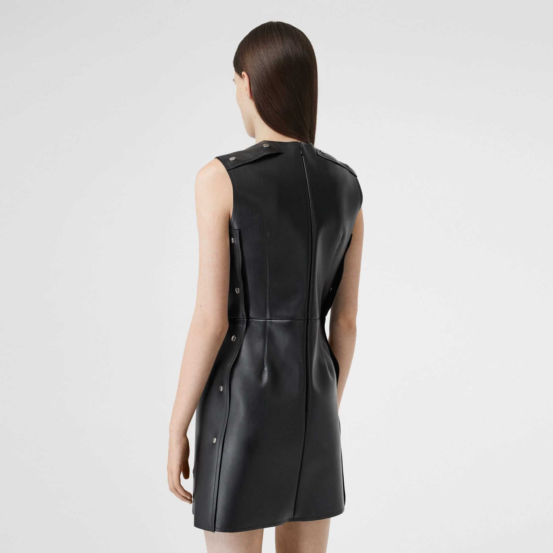 Embellished Faux Leather Mini Dress in Black - Women | Burberry - gallery image 2