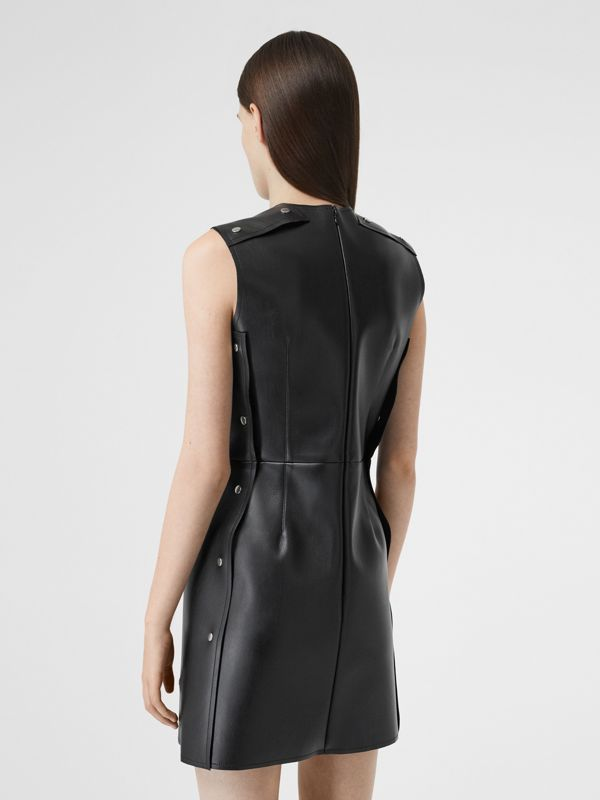 Embellished Faux Leather Mini Dress in Black - Women | Burberry - cell image 2