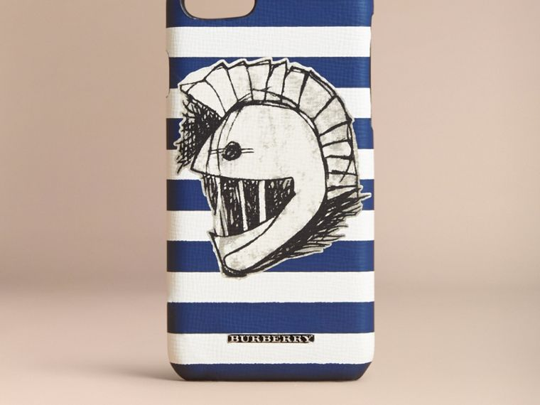 Pallas Helmet Motif London Leather iPhone 7 Case in Bright Cyan Blue - Men | Burberry - cell image 4