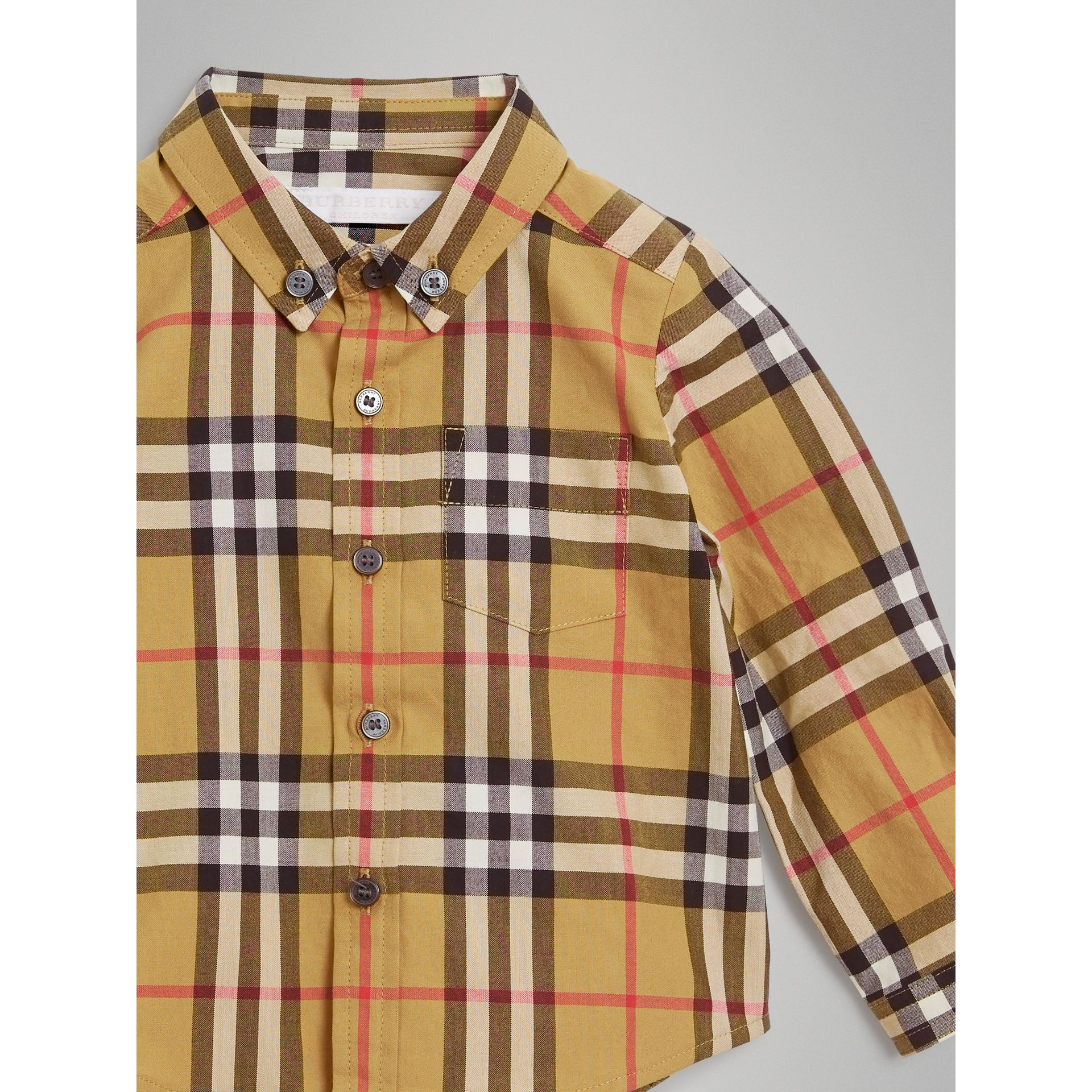 Button-down Collar Vintage Check Cotton Shirt in Antique Yellow - Children | Burberry United Kingdom - gallery image 4