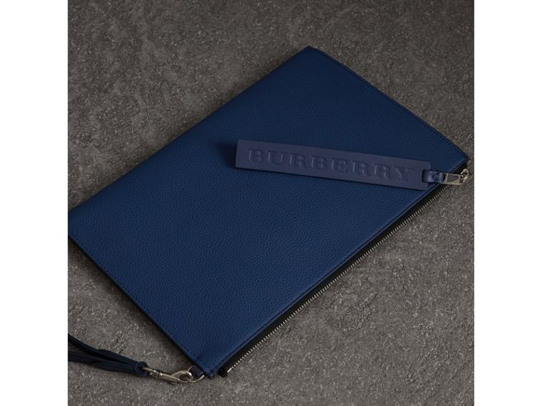 Grainy Leather Zip Pouch in Bright Ultramarine | Burberry - cell image 4
