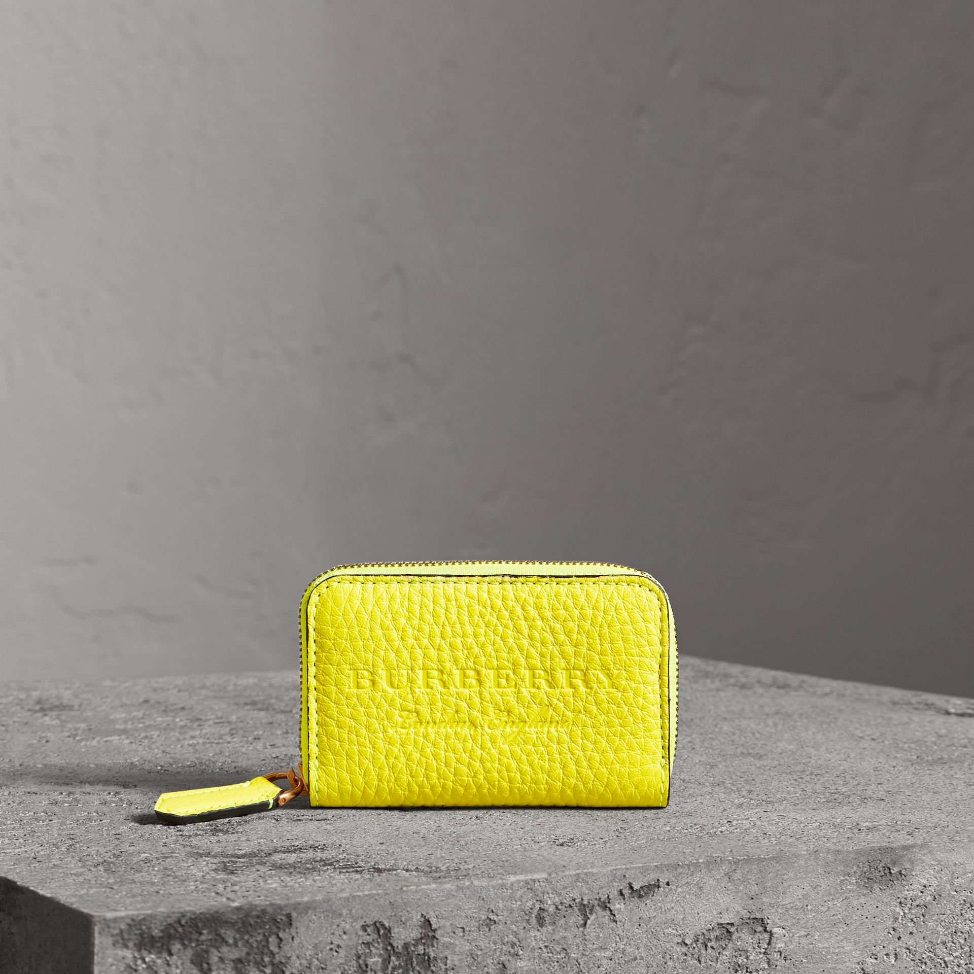 Embossed Leather Ziparound Coin Case in Neon Yellow - Men | Burberry - gallery image 4