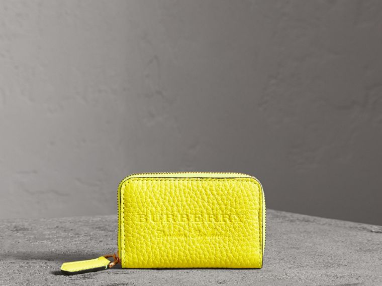 Embossed Leather Ziparound Coin Case in Neon Yellow - Men | Burberry Singapore - cell image 4