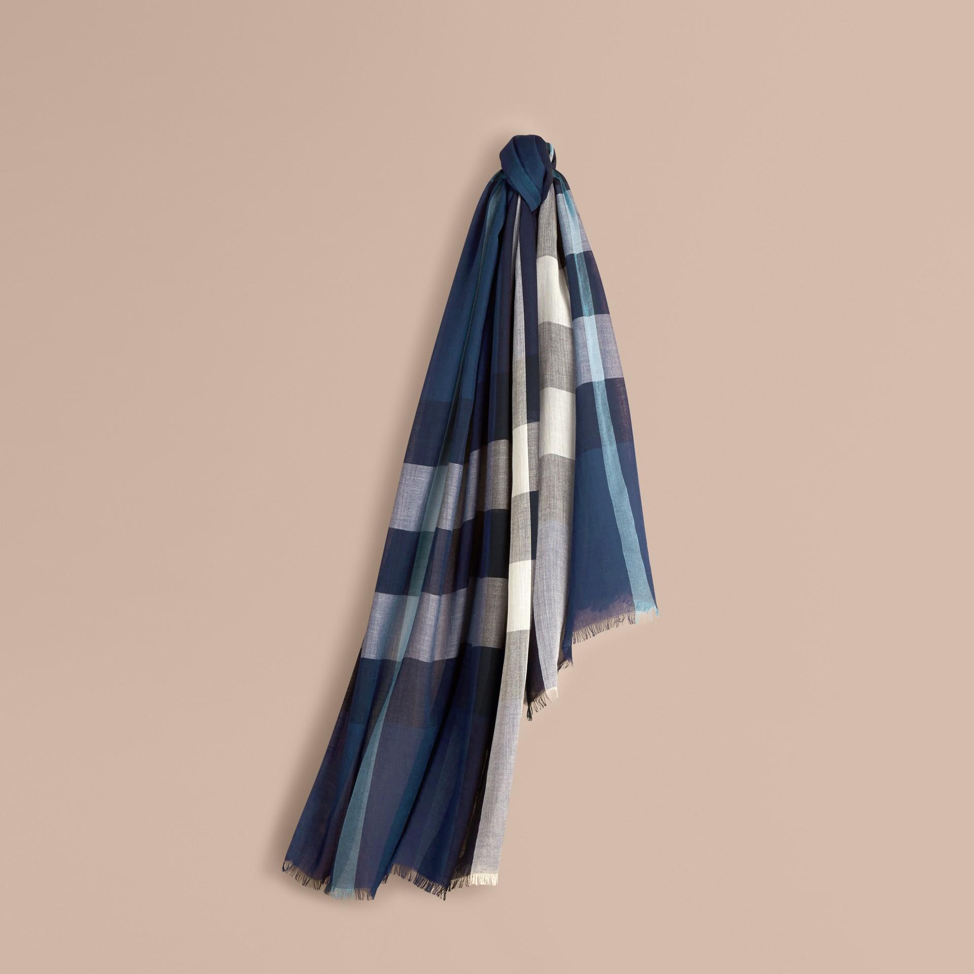 Indigo blue Check Modal Cashmere and Silk Scarf Indigo Blue - gallery image 1
