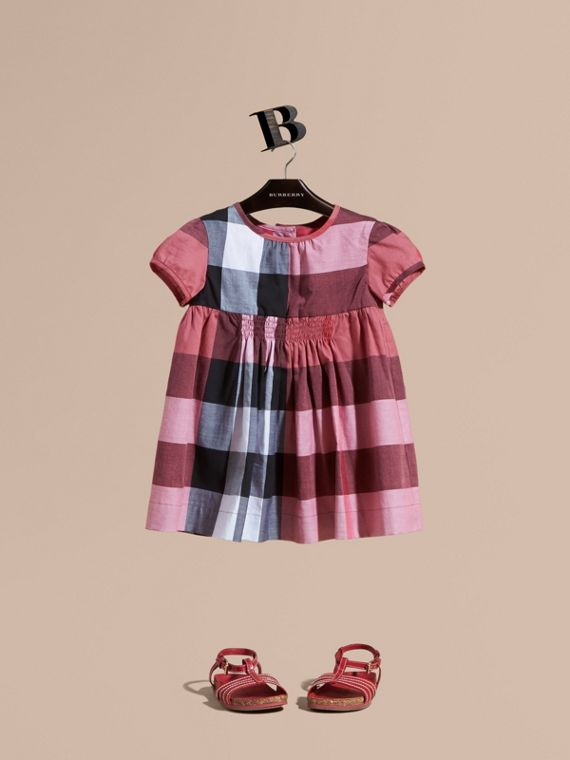 Cap-sleeved Check Cotton Voile Dress in Pink Azalea