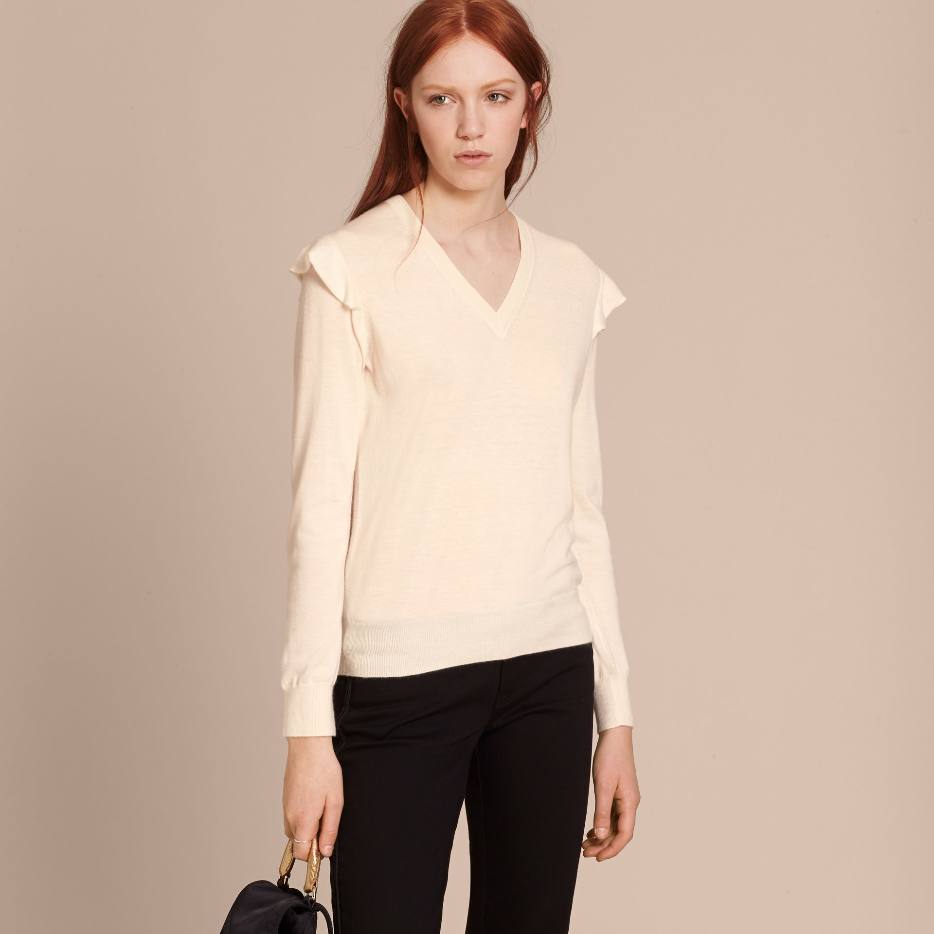 Natural white Cashmere Sweater with Frill Sleeves Natural White - gallery image 6