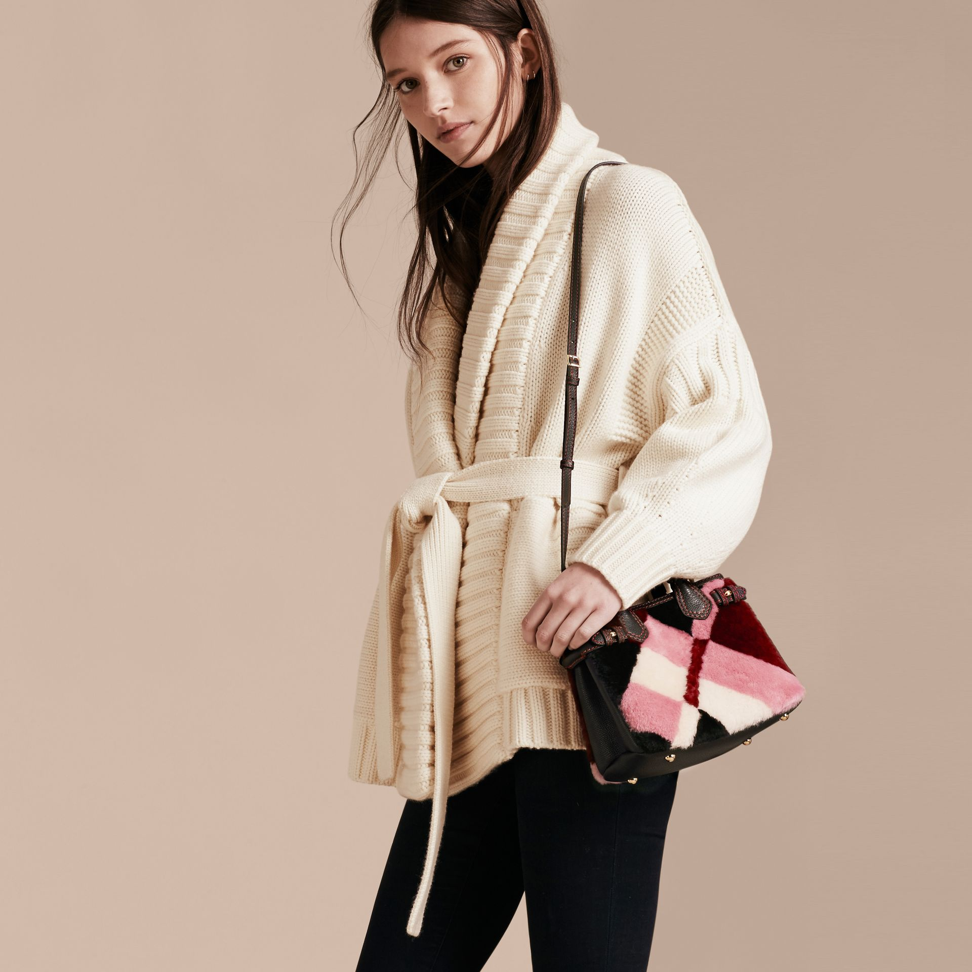 The Baby Banner in Patchwork Check Shearling and Leather in Pink - Women | Burberry Australia - gallery image 3