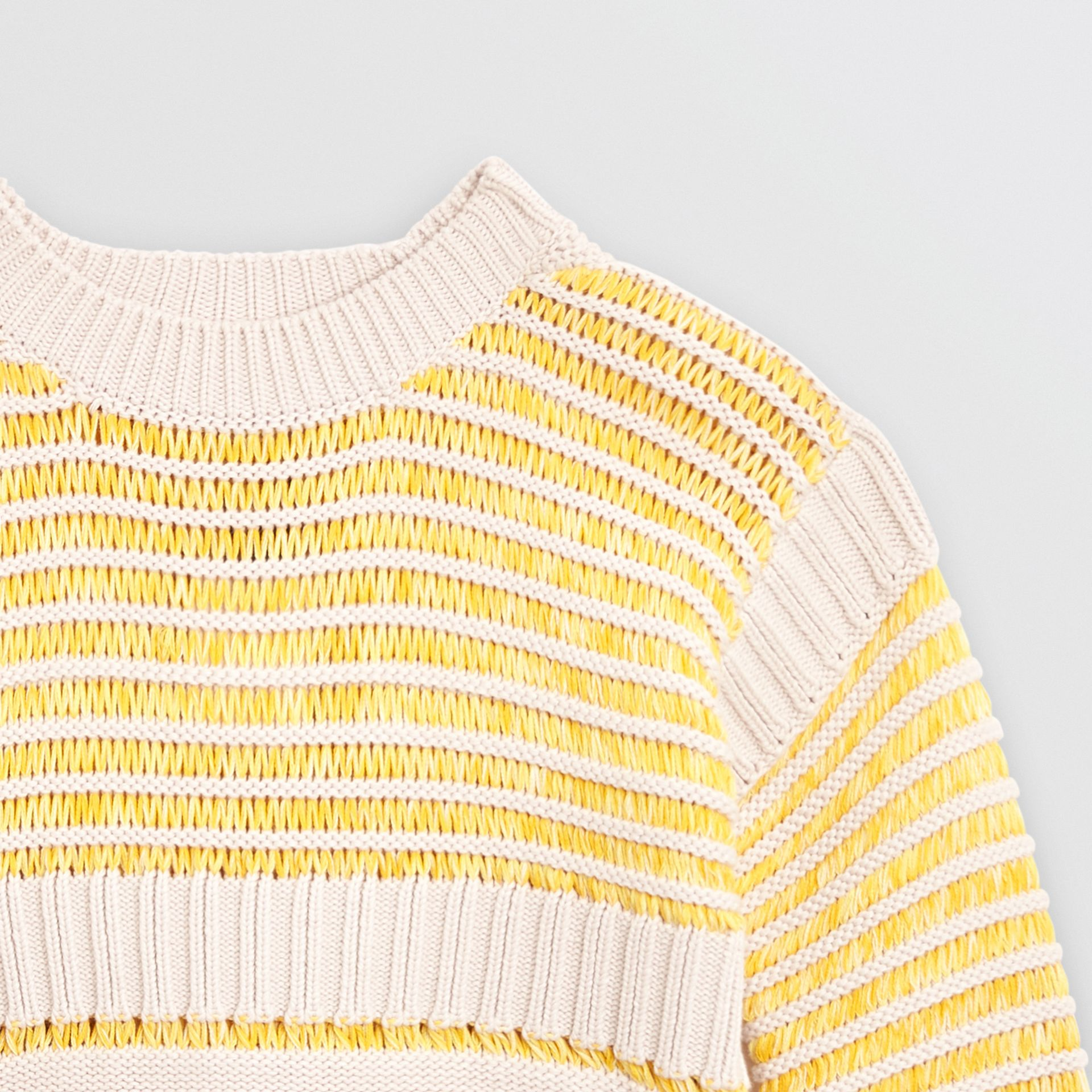 Rib Knit Cotton Sweater in Bright Yellow | Burberry United Kingdom - gallery image 4