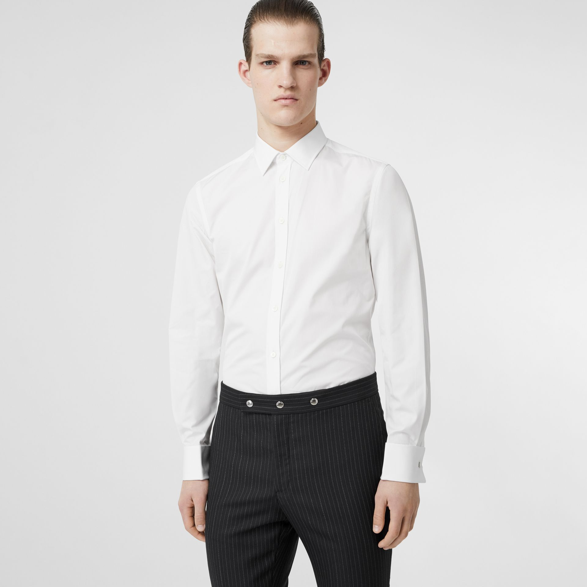 Slim Fit Monogram Motif Cotton Poplin Shirt in White - Men | Burberry - gallery image 5