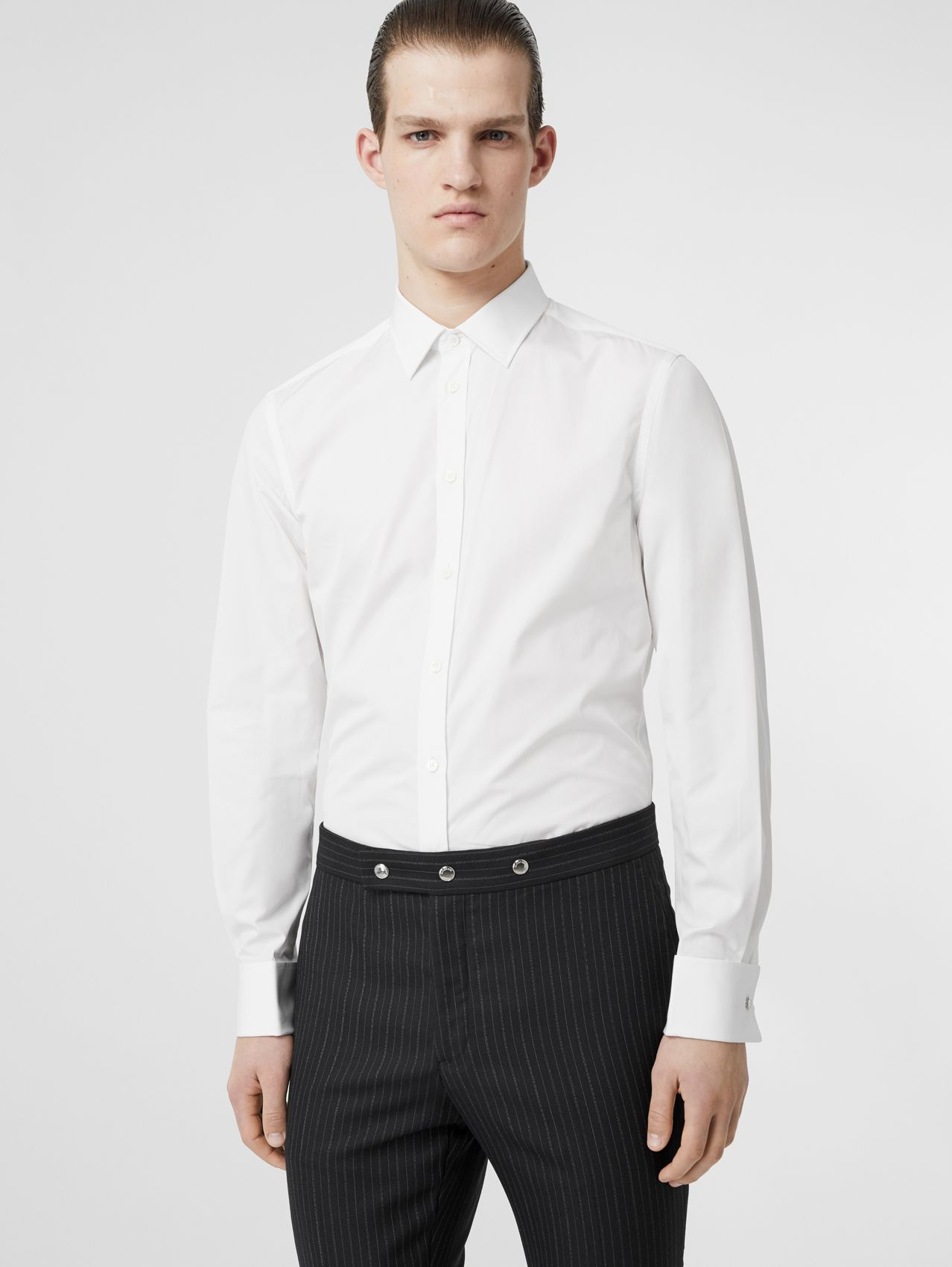 Slim Fit Monogram Motif Cotton Poplin Shirt in White