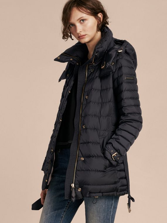 Down-filled Puffer Jacket with Packaway Hood in Navy