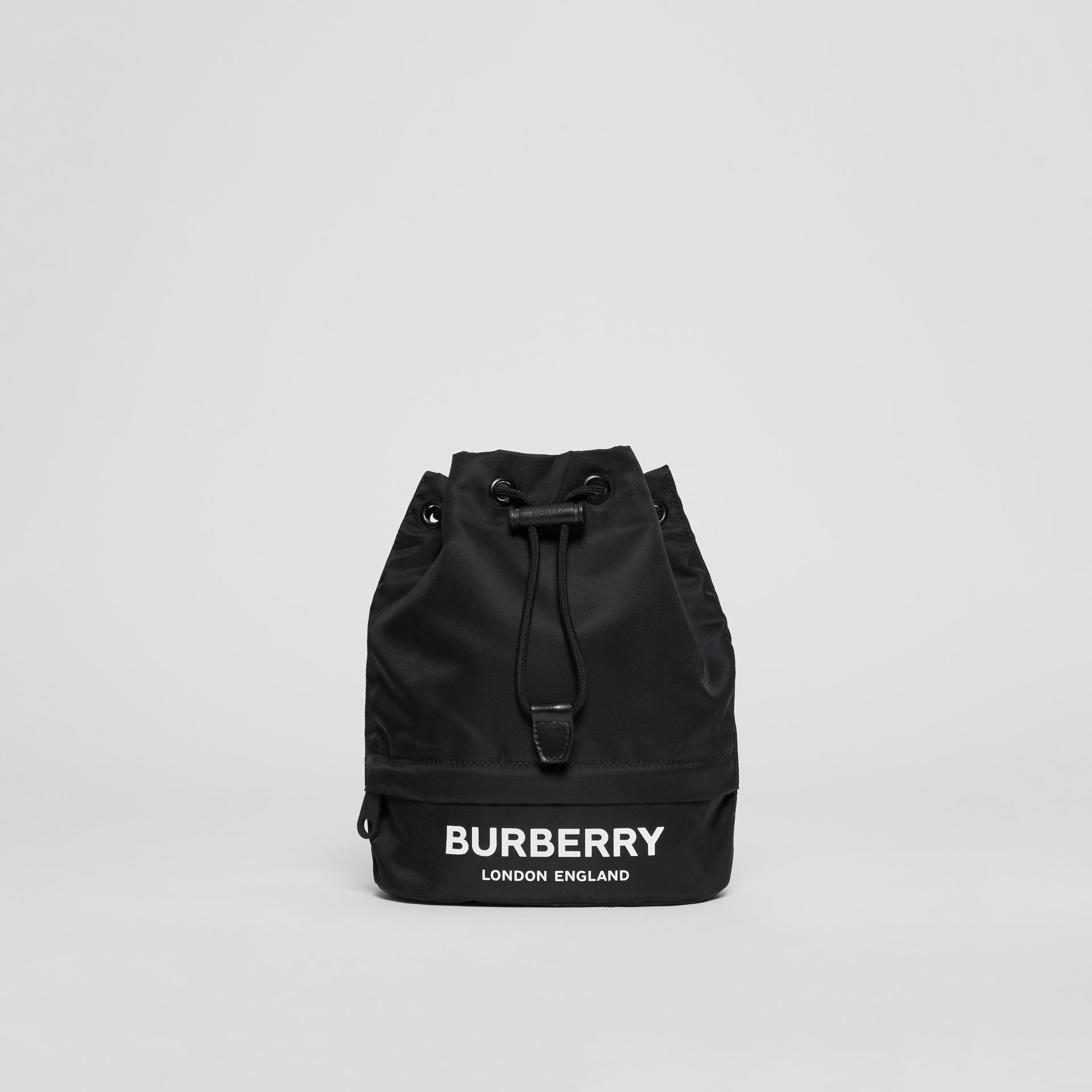 Logo Print Nylon Drawcord Pouch in Black - Women | Burberry - gallery image 0